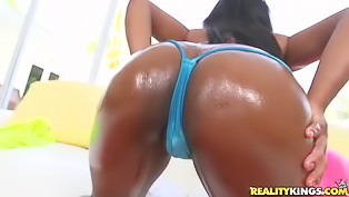 This gorgeous black lady with a nice bubble butt is ready for a hot interracial session. She shows off her body, blows a white pecker and then gets rammed so well.