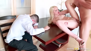 Absolutely gorgeous lady get screwed by handsome bald dude. She gets down on her knees, blows that fine pecker and enjoys his dick in a few sex positions.
