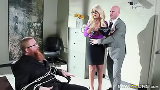 Busty blonde lady is always at service, this time she needs to do something really nasty. She bares her fine titties and gets fucked so hard in many positions.