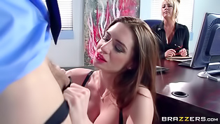 This long haired secretary is a marvelous slut that knows how to please her well hung boss. Brunette in stockings gives him a footjob and gets banged so hard.