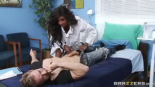Dr. Diamond Jackson is a totally mean slut, she gets naughty with her patients pretty often and when she spotted Erik's big dick she had to give him a try.