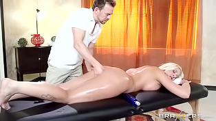 Horny masseur with a huge pecker can't resist his curvy blonde client. This babe with a big booty is just too damn hot, slut blows his pecker and gets banged