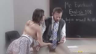 Adorable student bitch gets fucked well by a handsome janitor, she blows on his tasty meat pole and gets her fine twat drilled with so much passion.