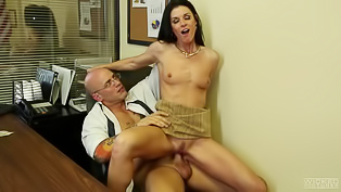 Handsome tattooed hunk is ready to get freaky in the office with her business partner. Elegant dark haired lady is eager to suck his dick and to get rammed.