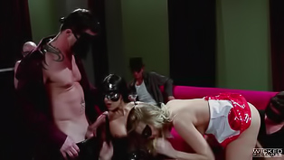 These bitches are surely always in a mood for some naughty sex session. Sluts enjoy leather and hard banging, two horny dudes are eager to fuck them.
