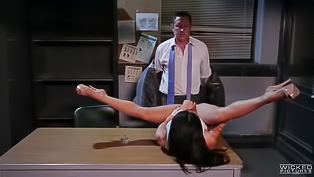 Gorgeous brunette porn star Asa Akira gets seduced by a handsome man in the office. Bitch is so damn naughty, she blows his dick and gets nailed.