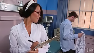 Dark haired nurse is eager for some hot sex with a handsome porn stud. Hottie in red boots gets down on her knees, blows his dick and gets rammed so damn hard.