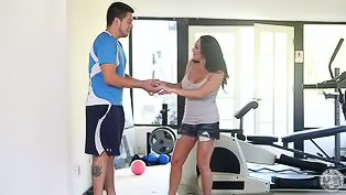 Passionate sports chick named Dayton Raines is enjoying passionate sex with her instructor David in the gym showing blowjob and tittyfuck skills.