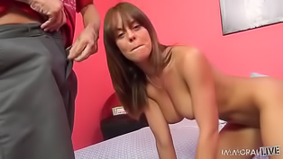 Adorable brunette Rahyndee James is enjoying passionate sex with her strong partner. She is sucking his aggregate and getting drilled in doggystyle move.
