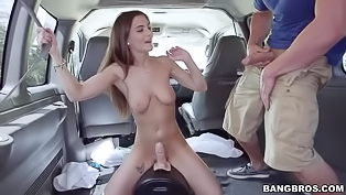 Awesome young brunette is having passionate sex with the driver in his car. She is riding his penis and demonstrating her sensational cowgirl skills.