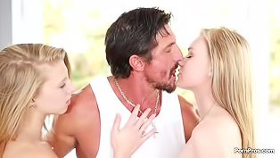 Two gorgeous blondes are enjoying passionate sex with this awesome man. They are deepthroating his penis and getting holes banged amazingly deep.