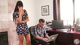 Busty lady having dark hair and huge melons is demonstrating her great blowjob skills. She is deepthroating her partner's penis with awesome excitement.