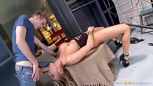Super hot blonde darling with curvy body is so damn amazing. She has huge titties and a big butt, her partner gives her so much pleasure with his large dick.