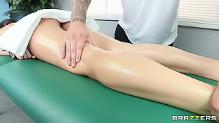 Sexy madam named Clover is enjoying passionate fuck with her strong masseur named Jimmy. She is enjoying 69 move before getting penetrated deep.