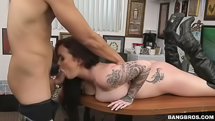 Awesome brunette wearing black shoes is getting fucked in a hardcore manner. Her lover is pushing his strong cock deep into her sweet holes.